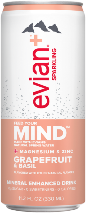evian+ Grapefruit & Basil Mineral Enhanced Sparkling Drink